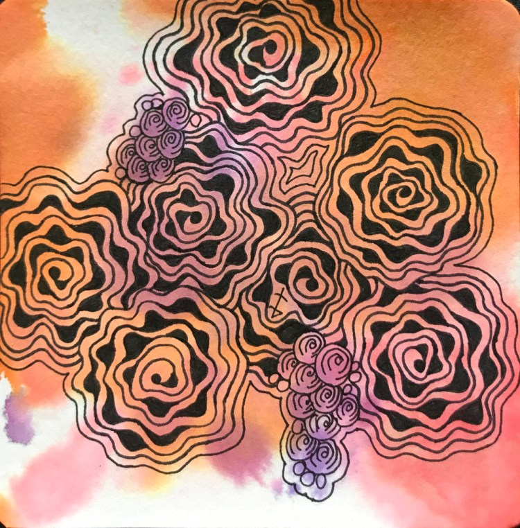 background color is Brea Reese Watercolor Inks. on a 3.5″ YouTangle.art Tile from Hahnemühle,