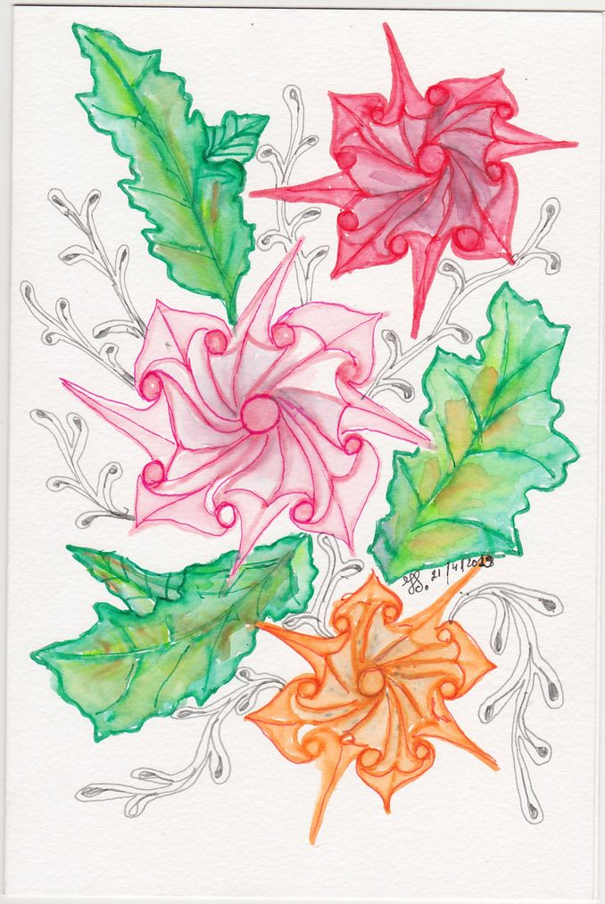 For this card i used Canson watercolourpaper. the patterns are drawn with aquarelpens and then i was
