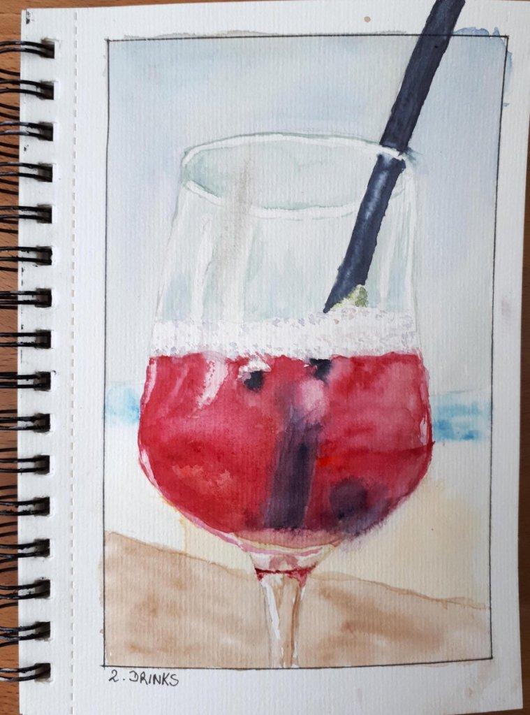 Day 2 Drinks Watercolor (Referenzfoto: Dirk Schmele) #doodleWashJune2019 #WorldWatercolorGroup 02 20
