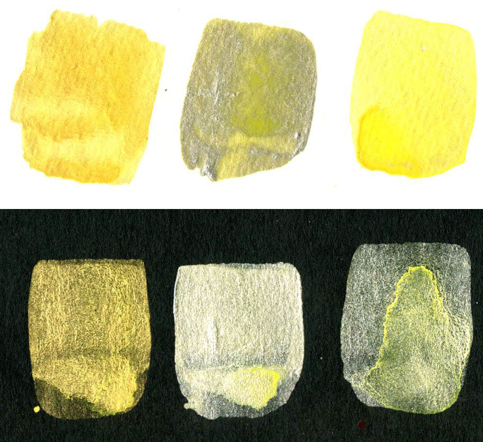 Non-Iridescent Iridescent Watercolor Mixes Benzimidazolone Yellow