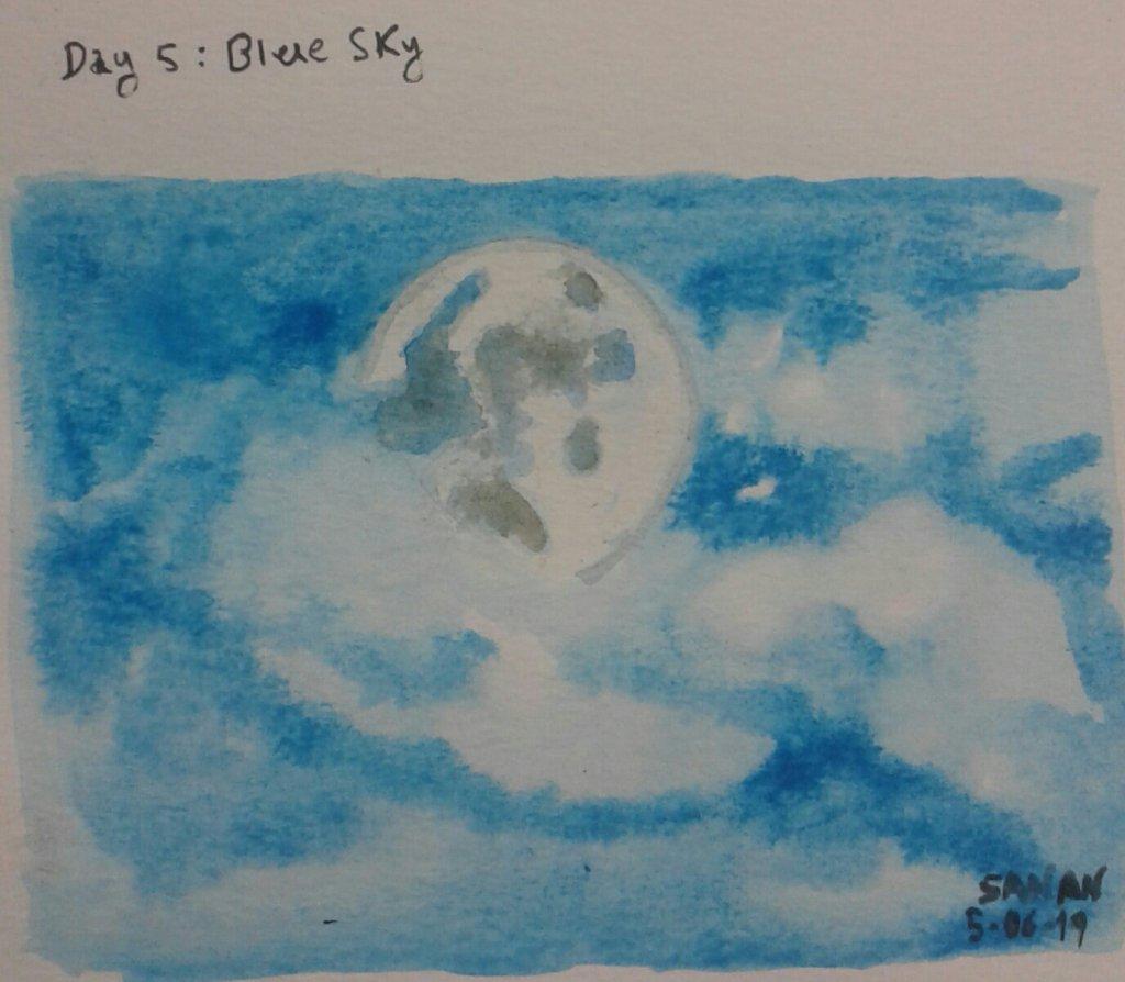 Dia 5: Blue sky #doodlewashjune2019 #blue_sky #worldwatercolorgroup #acuarela #rayatubetero #beteroe