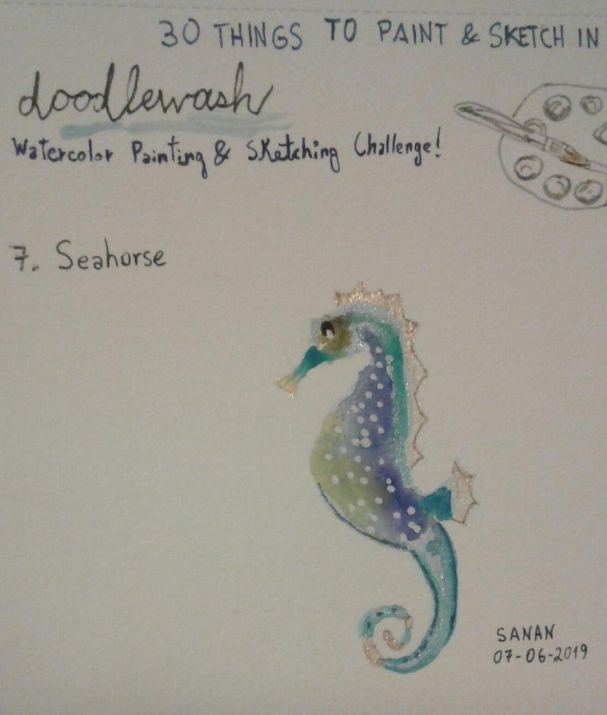 Dia 7: Seahorse #doodlewashjune2019 #seahorse #worldwatercolorgroup #acuarela #rayatubetero #beteroe