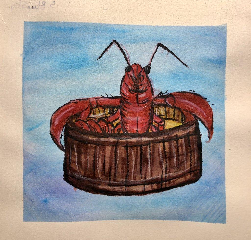 #doodlewashJune2019 #FunintheSunWatercolorChallenge2019 Day 4: Lobster … enjoying a warm butte