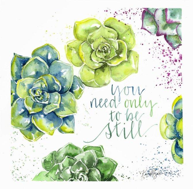 Succulent Watercolor Painting by Kari Alisa Watson - Doodlewash