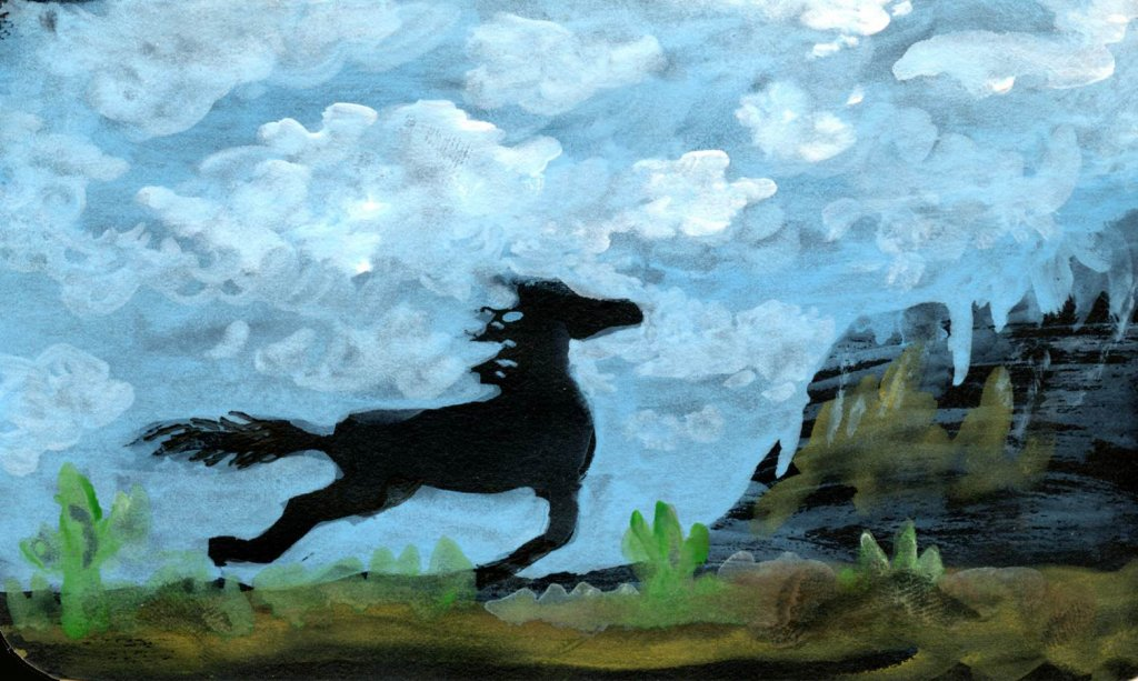 Blue skies. Playing with gouache on a scrap of black paper to see how light I could go. I could have