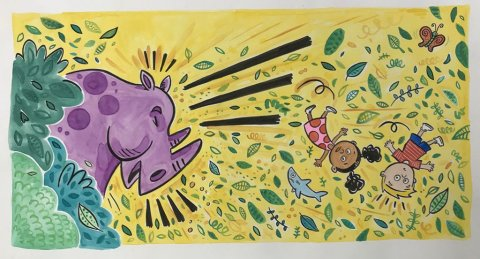 Purple Rhino Watercolor Book Illustration from You're Missing It by Brady Smith with Tiffani Theissen
