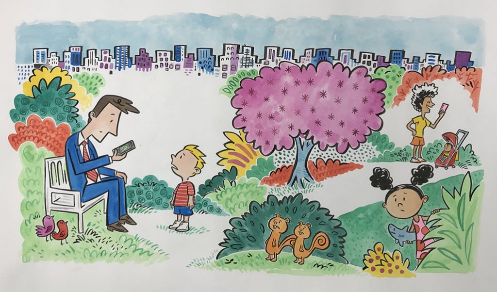 You're Missing It Book Interior Illustration Example by artist Brady Smith with Tiffani Thiessen
