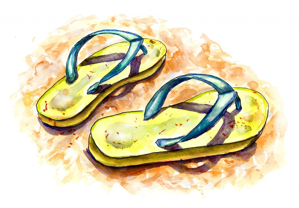 Flip Flops Sand Watercolor Illustration