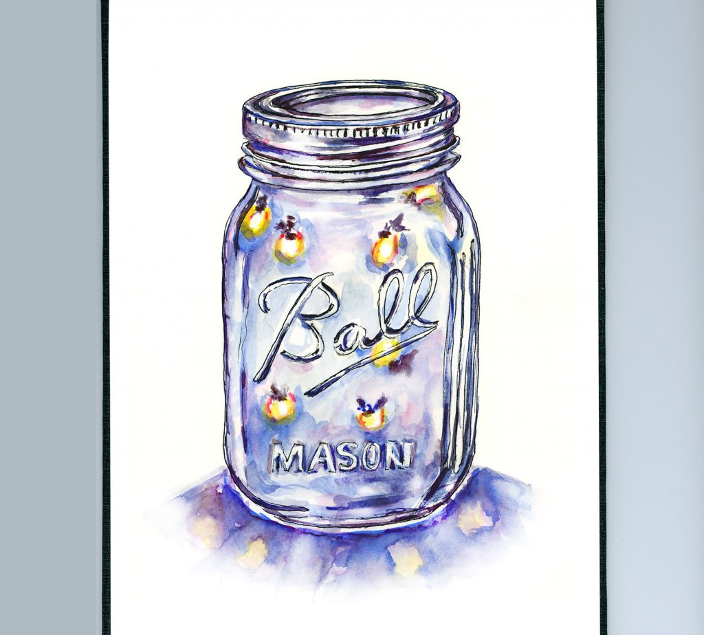 Lightning Bugs Jar Fireflies Sketchbook Illustration