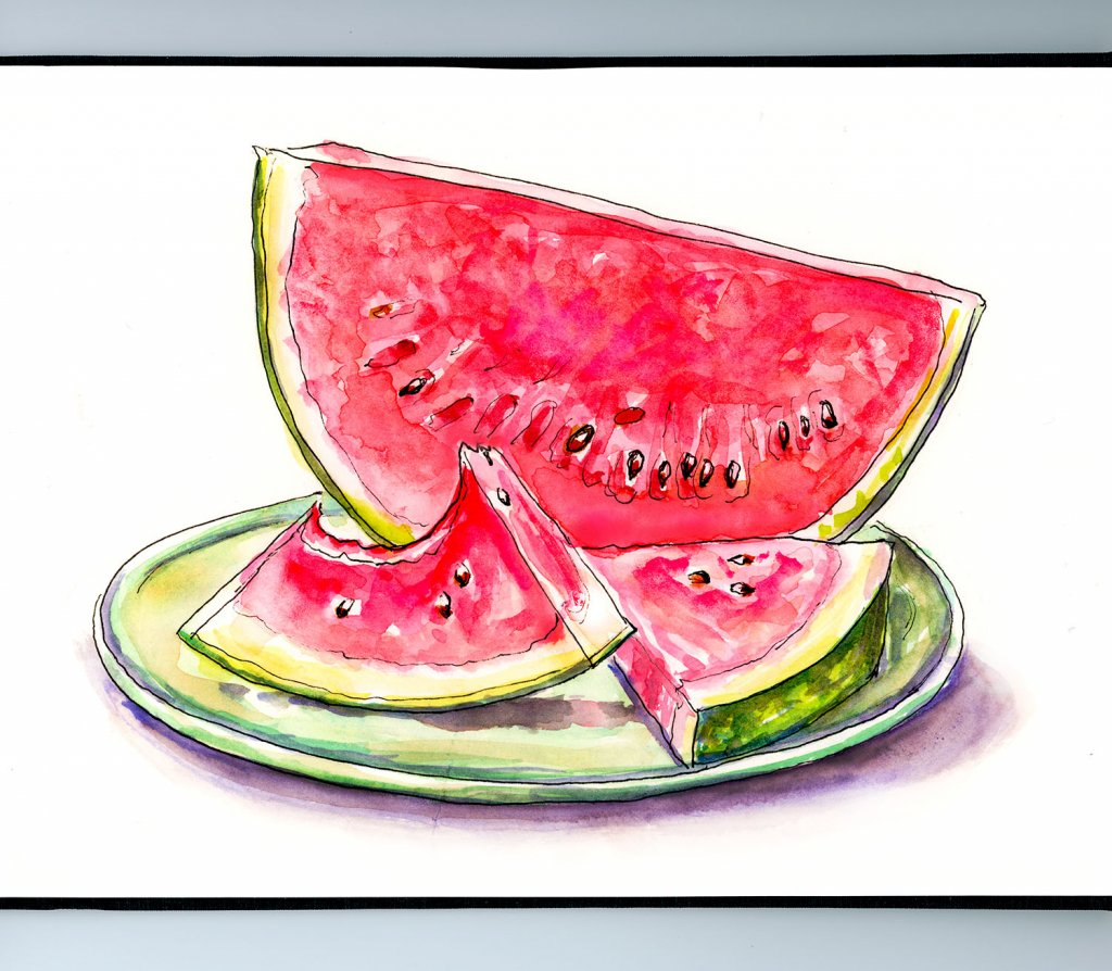Day 13 - Watermelon Watercolor Illustration_IG