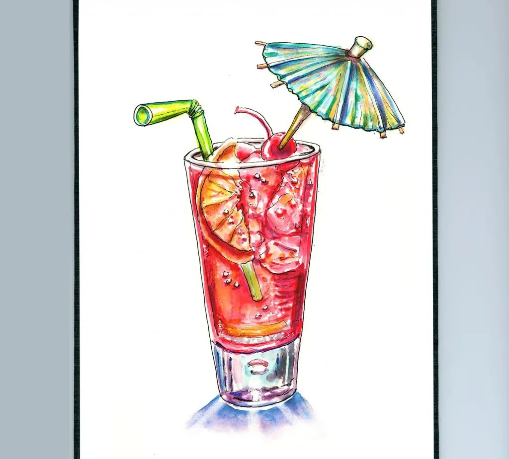 Tropical Drink Umbrella Watercolor In Sketchbook Example