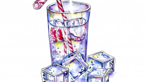 Ice Cold Drink Watercolor Illustration