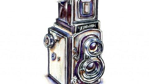 Vintage Camera Watercolor Illustration