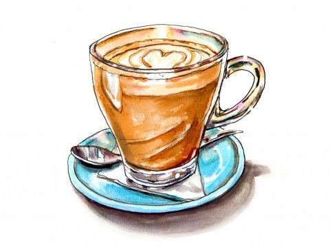 Cappuccino Mug Watercolor Illustration
