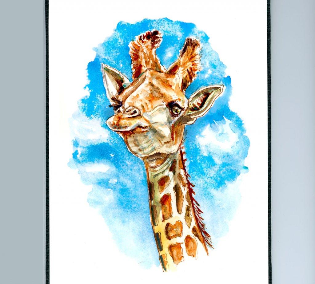 Day 5 - Giraffe Blue Sky Watercolor Illustration_IG