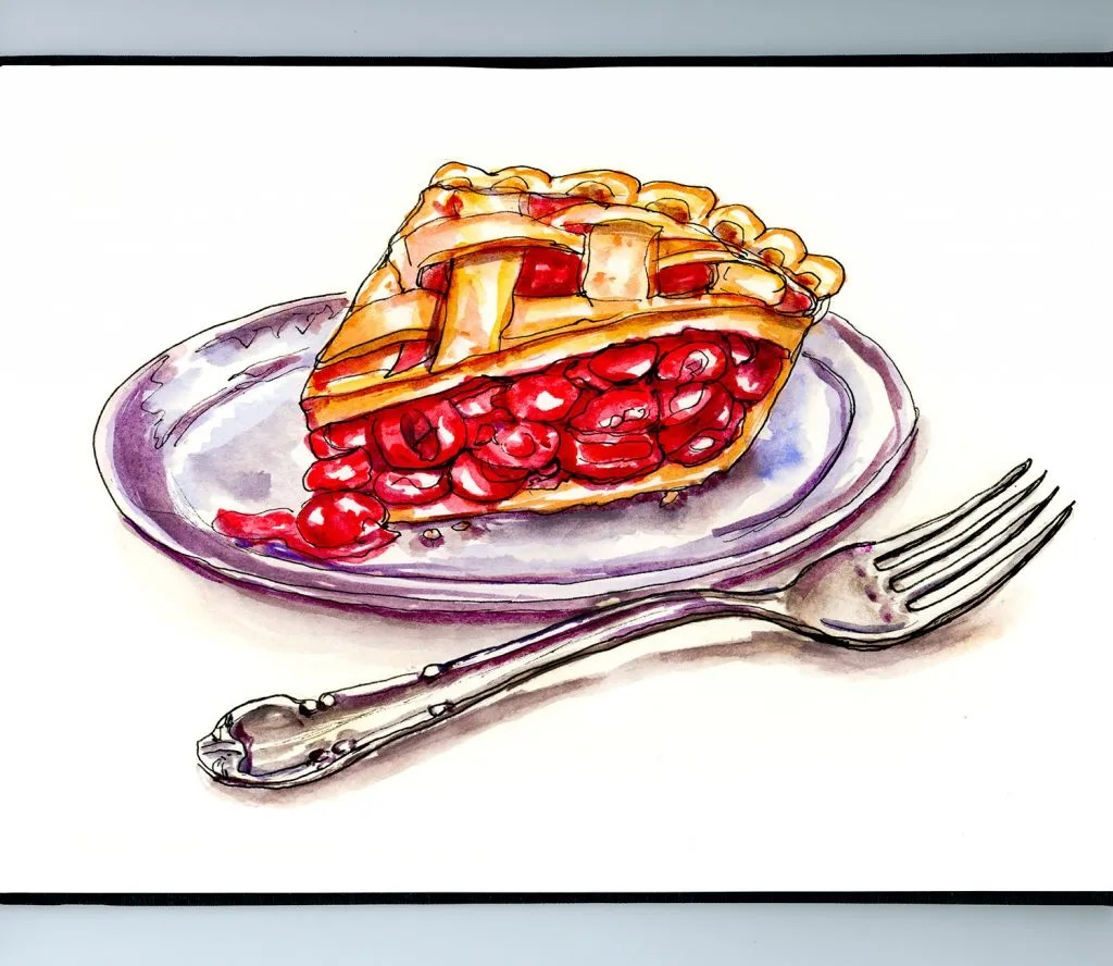 Day 6 - Cherry Pie Fork Watercolor Illustration_IG