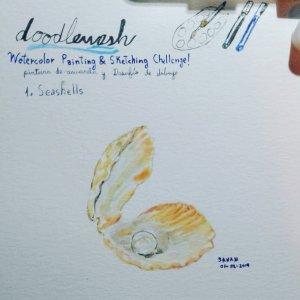 DAY 1: Seashells #doodlewashjune2019 #worldwatercolorgroup #acuarela #rayatubetero #beteroecuador #a