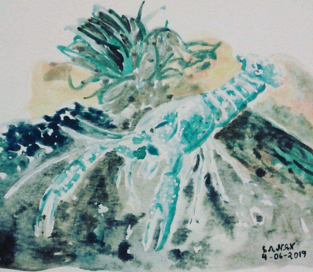 Day 4: Lobster #doodlewashjune2019 #worldwatercolorgroup #acuarela #rayatubetero #beteroecuador #art