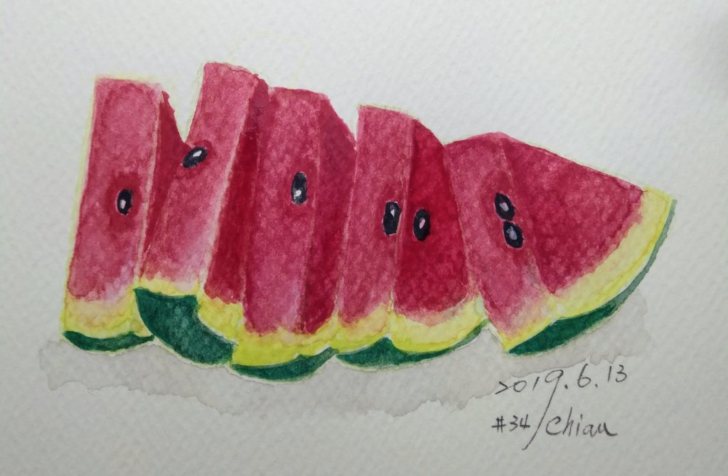 Watermelon For Day 13 prompt IMG_20190613_195149