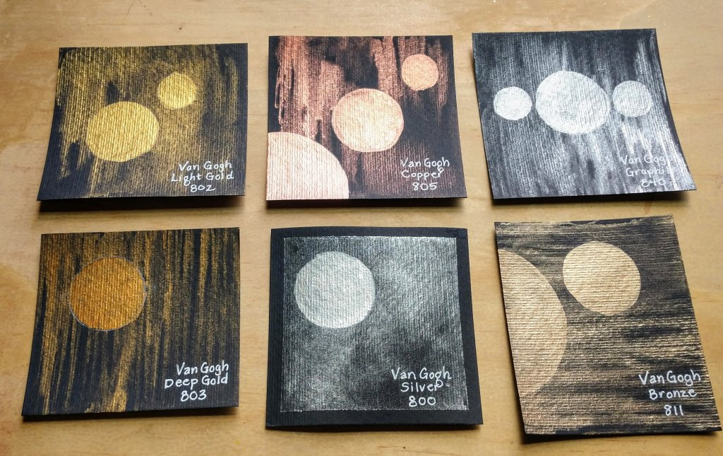 Metallic Watercolours Painting Swatches on Van Gogh Black Watercolor Paper