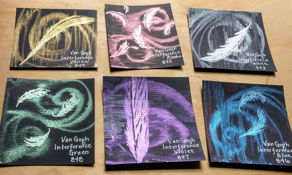 Interference Watercolours Painting Swatches on Van Gogh Black Watercolor Paper