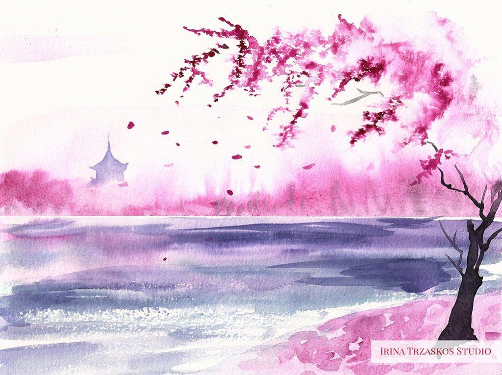 Pink Landscape Watercolor Painting by Irina Trzaskos - Doodlewash