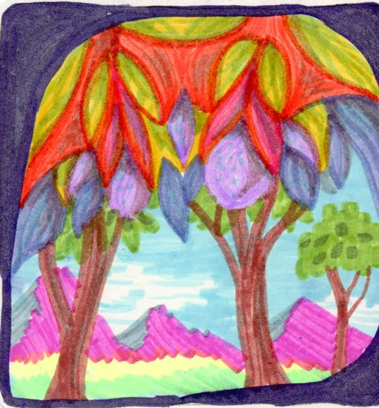 Purple tree tomatoes. Not really – Zebra pen sent me some new mildliners and I was playing wit