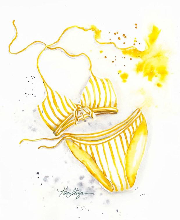 Sizzling Yellow Bikini Watercolor Painting by Kari Alisa Watson - Doodlewash