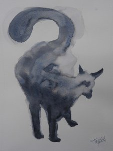 Finished the day off with watercolour done without any prep drawing. TerryH_cat