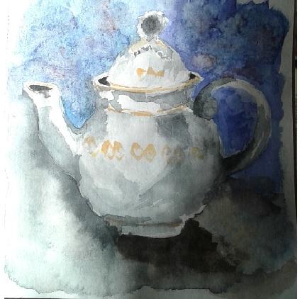 white teapot paper 25*32 watercolor чай3
