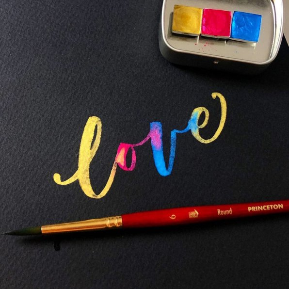 Love on Black Paper - Shelly Kim Watercolor Lettering - Letters by Shell - Doodlewash