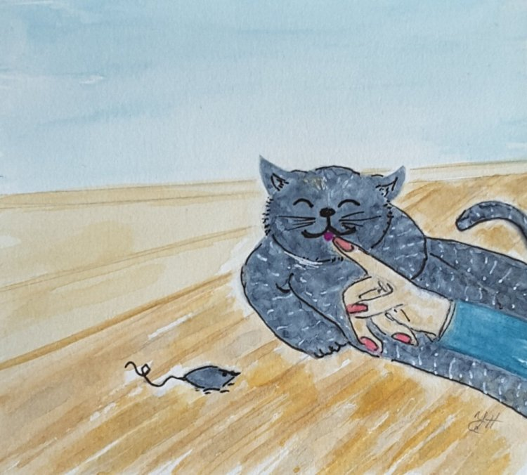 """Day 16 """"Relaxing"""" Nobody does it better than a cat! #WorldWatercolorMonth #WorldWatercol"""