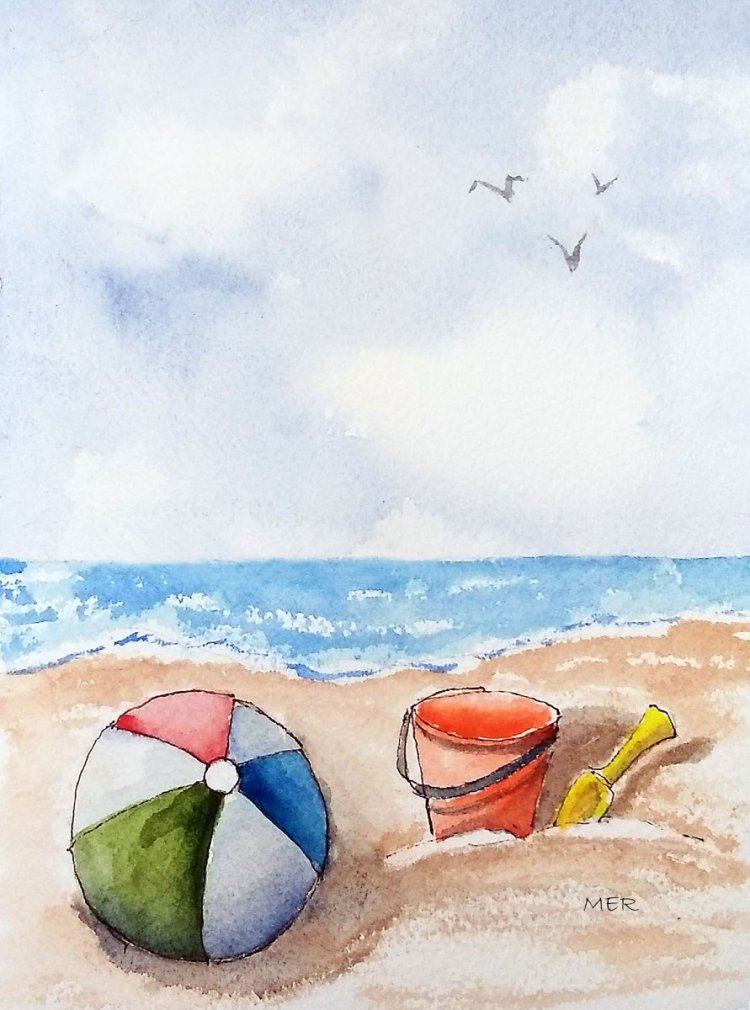 7/23/19 Beach Fun #worldwatercolormonth 7.23.19 Beach Fun img300