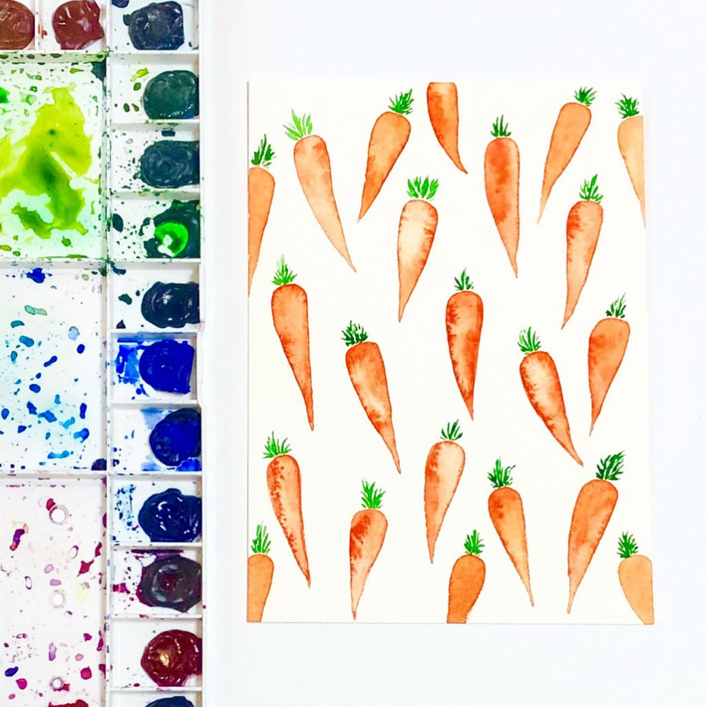 Carrots Pattern - Shelly Kim Watercolor Lettering - Letters by Shell - Doodlewash