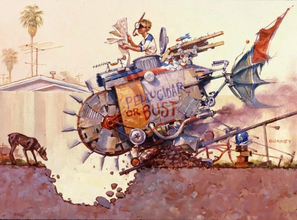 Whimsical Illustration of Boy in flying machine by James Gurney
