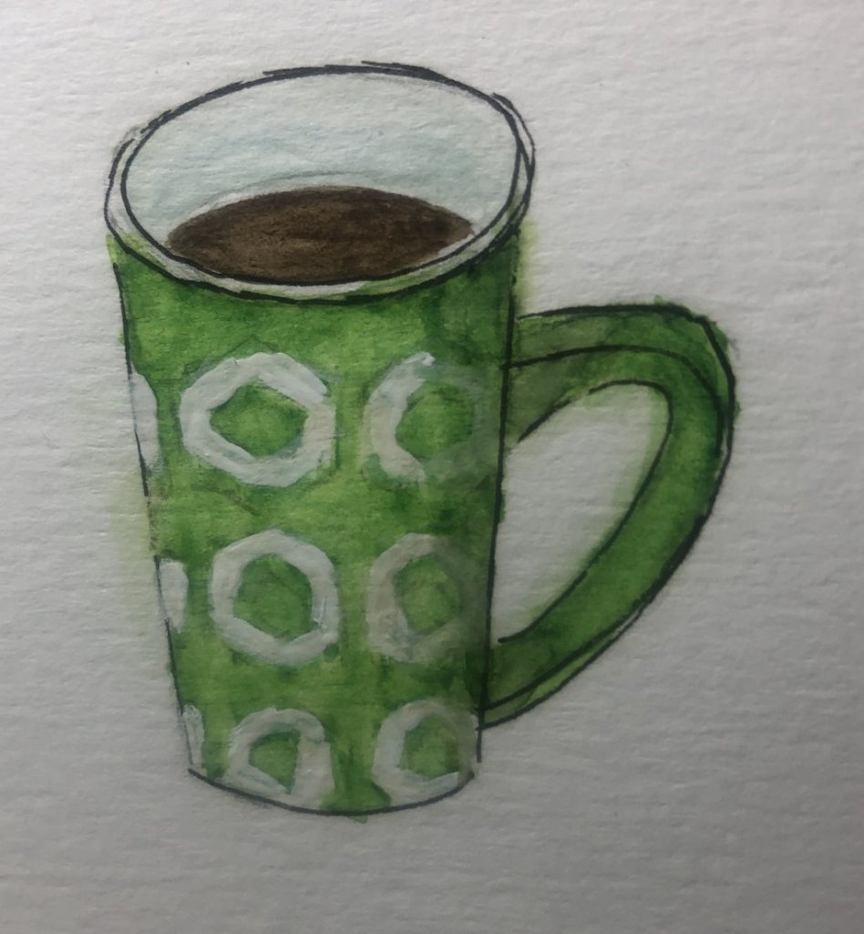 Glorious green. My favorite coffee cup. Sketched and Painted in a rush 🤦🏻‍&#x