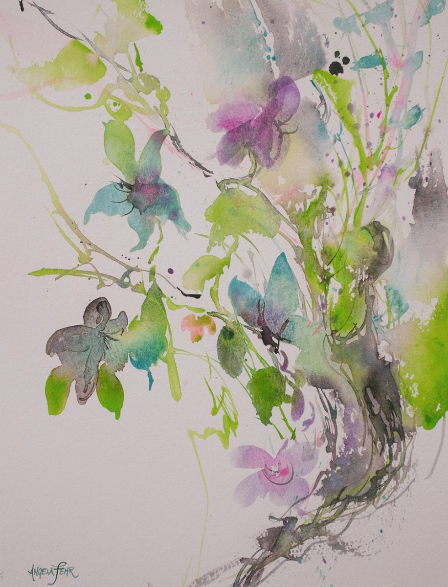 Flowers Abstract Watercolor Painting by Angela Fehr
