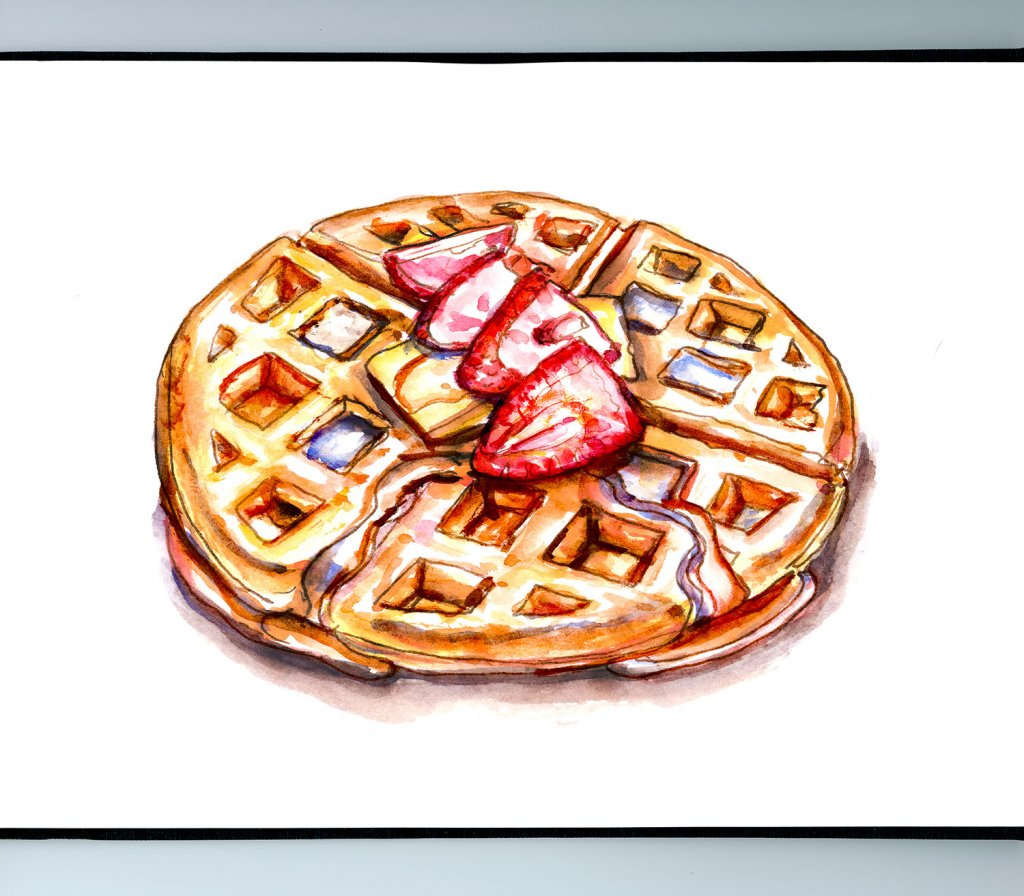 Waffle Syrup Butter Watercolor Illustration Sketchbook Detail