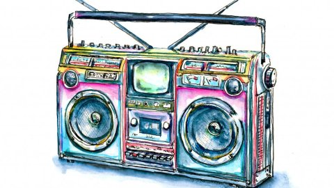80s Boombox Color Illustration Watercolor