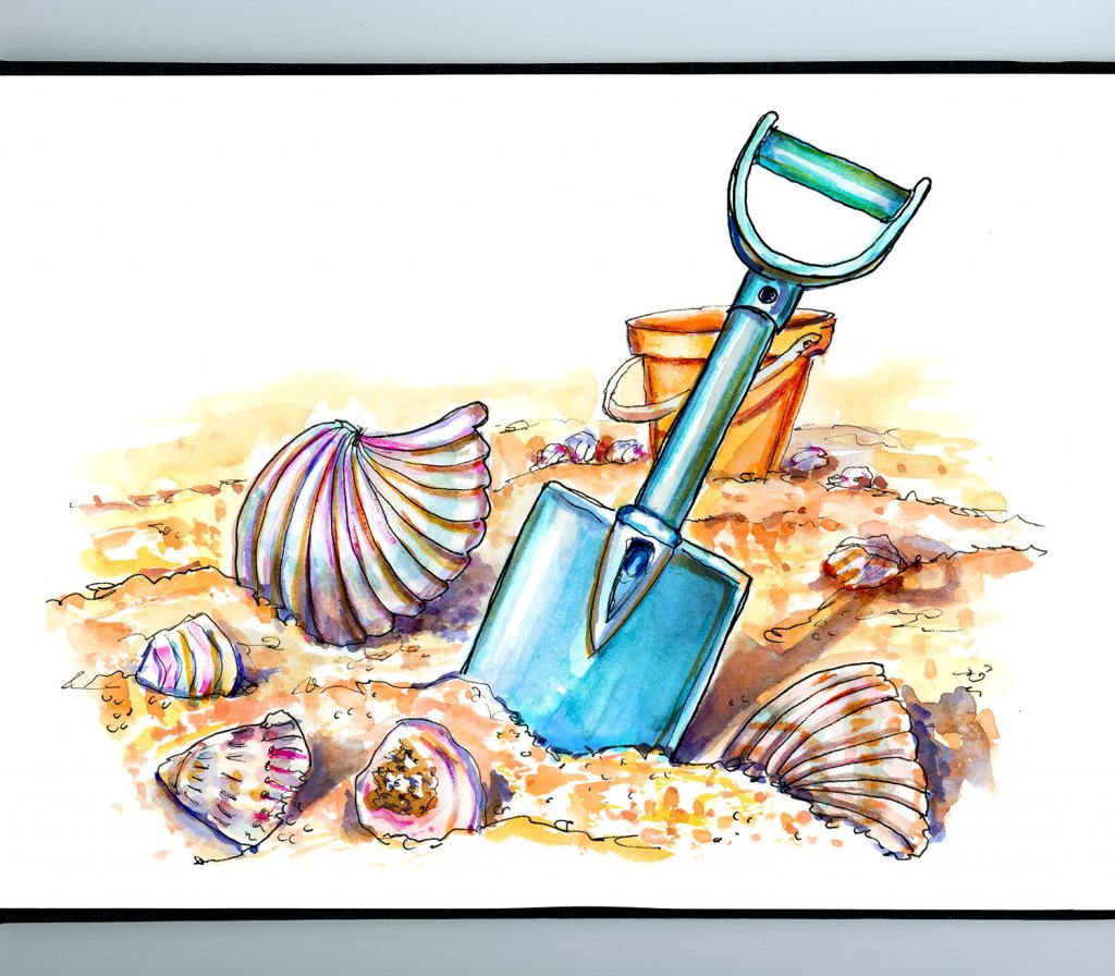 Beach Fun Seashells Shovel Sand Watercolor Illustration Sketchbook Detail