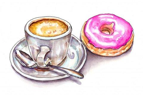 Coffee Donut Watercolor Illustration