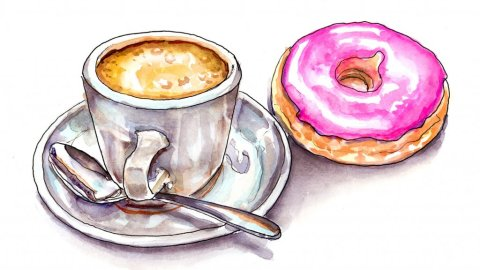 Coffee Donut Watercolor Illustration
