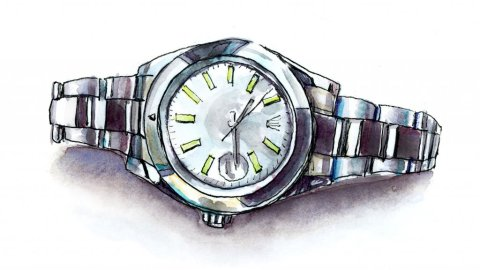 Rolex Watch Watercolor Illustration