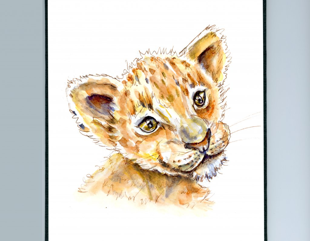 Lion King Cub Baby Watercolor Illustration Sketchbook Detail