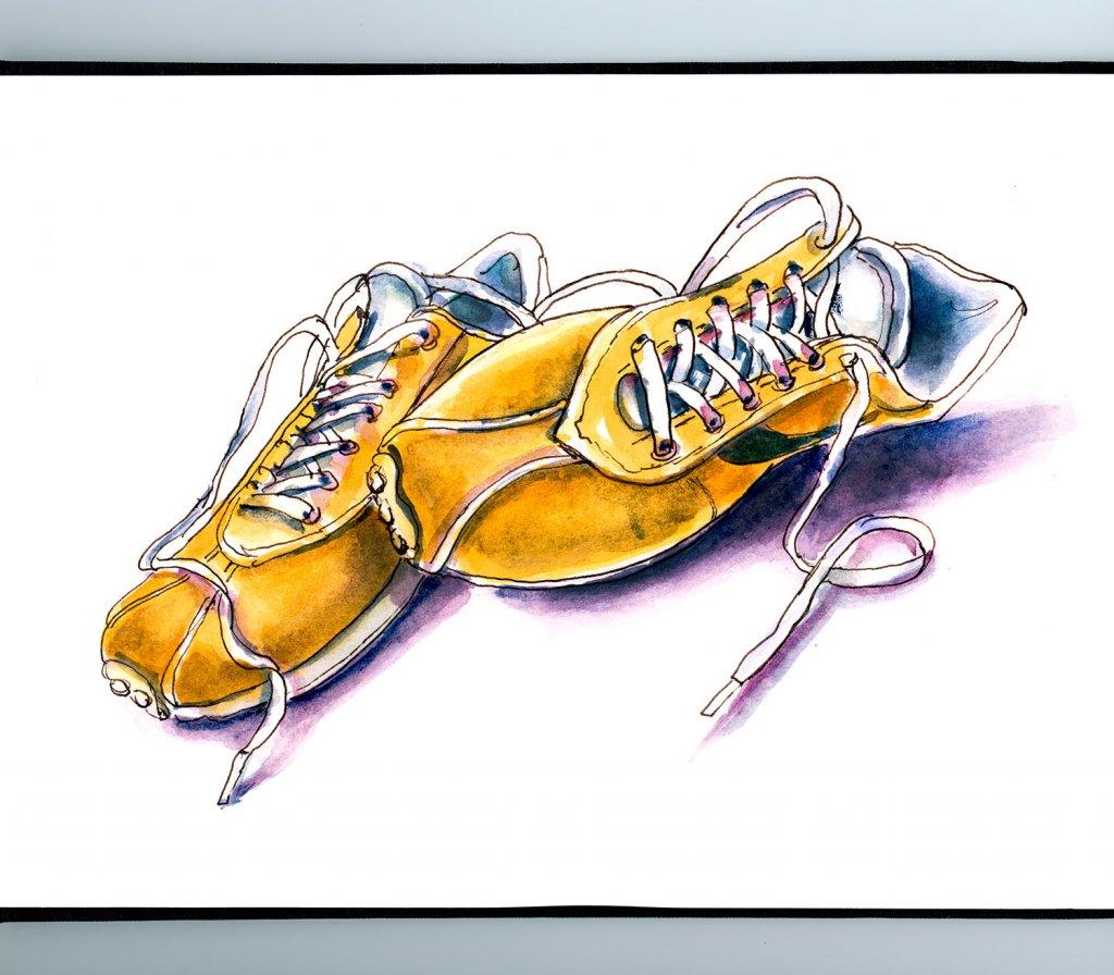 Yellow Orange Sneakers Watercolor Illustration Sketchbook Detail