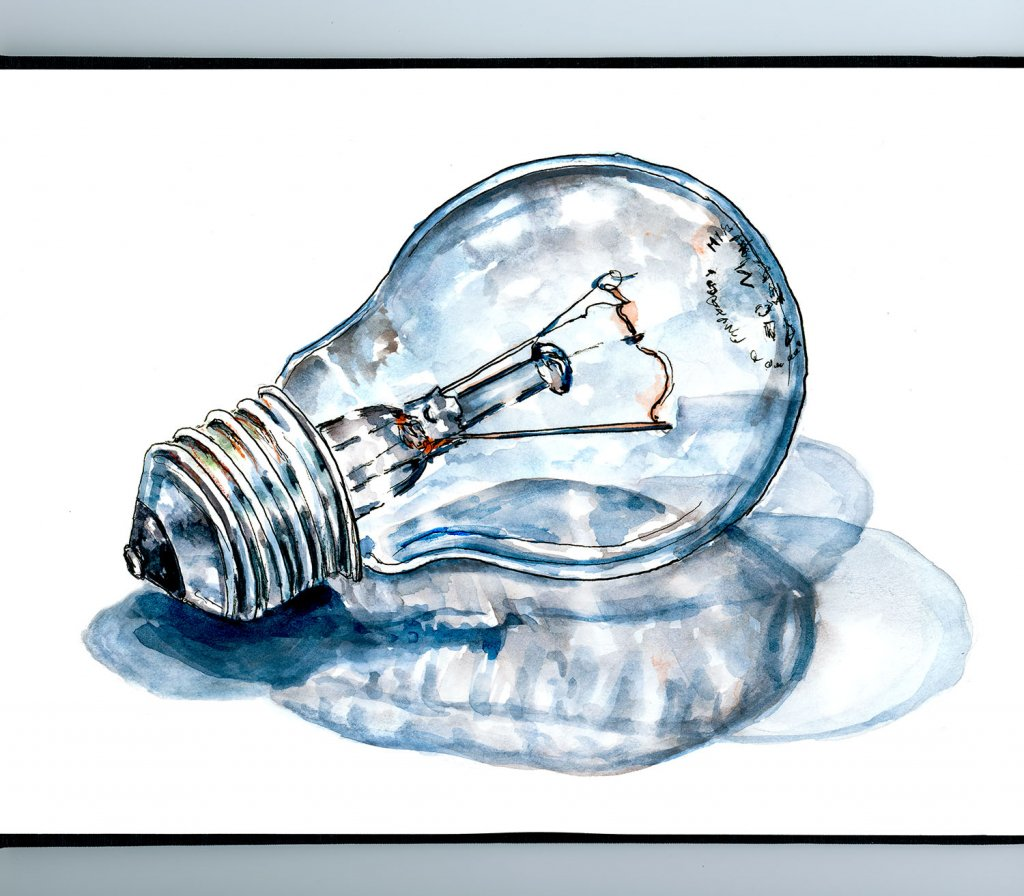 Light Bulb Idea Watercolor Illustration Sketchbook Detail