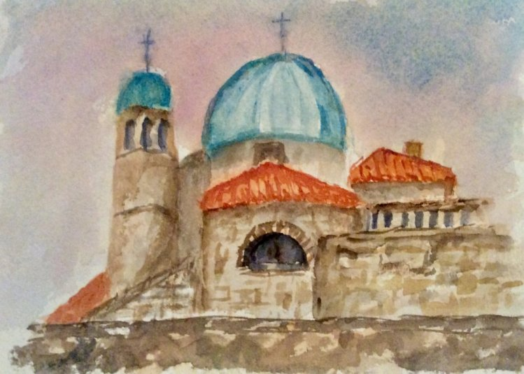 #worldwatercolormonth; day 20: Buildings. Our Lady of the Rocks, Montenegro. IMG_0880