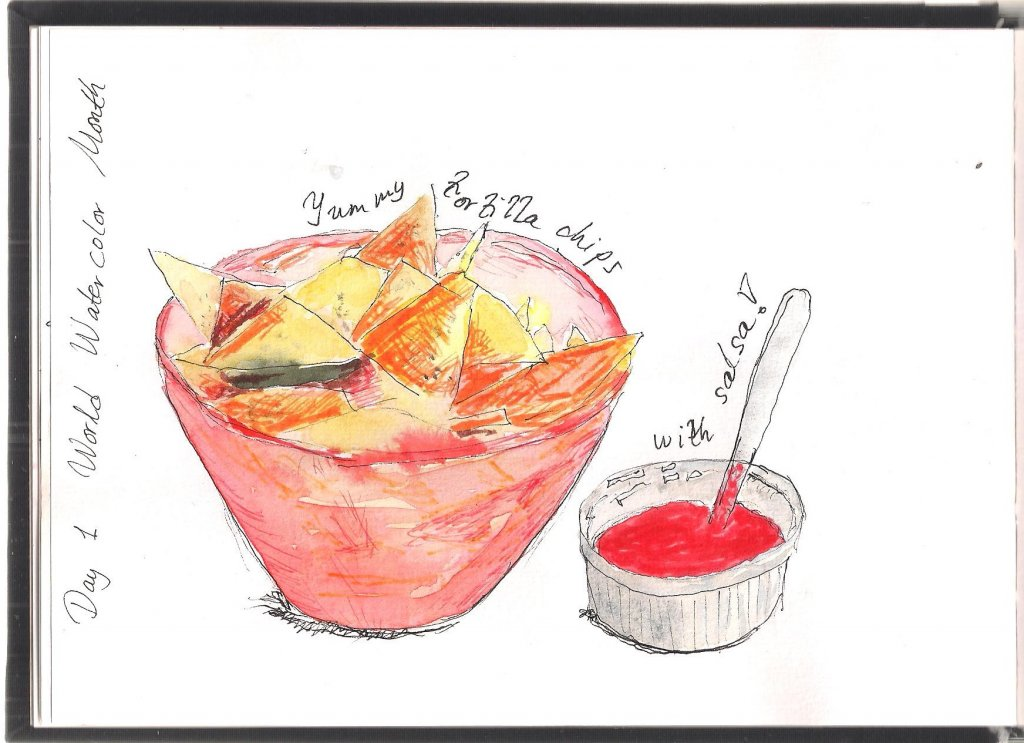 Tortilla chips with salsa. Fineliner, watercolour and feltpens in sketchbook. Image (32)