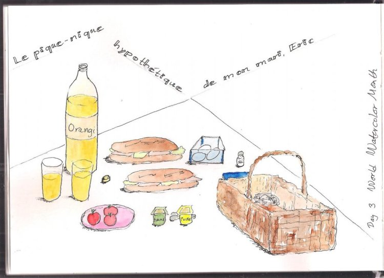 """Picnic food. Translation: """"My husband's hypothetic picnic food."""" Fineliner and wat"""