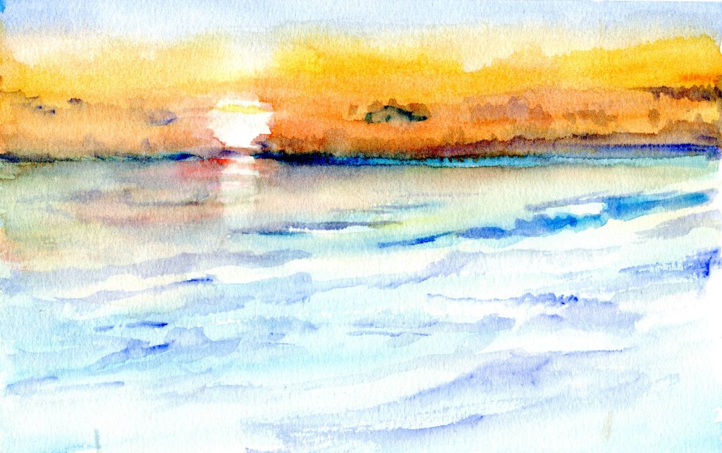 Watercolor Sunset by Sandra Strait